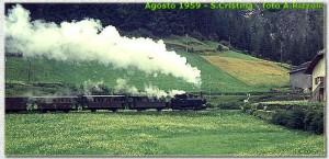 Un convoglio in linea nei pressi di Santa Cristina - Agosto 1959 Foto A. Rizzoli