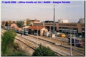 11 aprile 2003: ultimo transito sul primo binario della ALe 803 Bologna-Porretta.